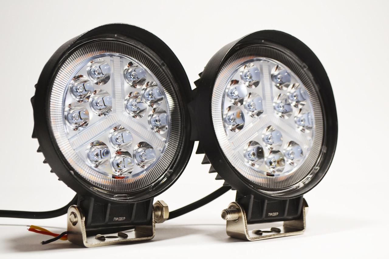 Светодиодная LED фара рабочая 36вт,(3Вт*12ламп) + Поворотник (Комплект)