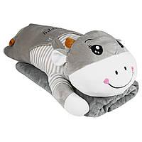 Подушка игрушка плед Коровка, плюшевая декоративная подушка-плед 3в1