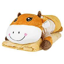 Подушка іграшка плед Корівка, плюшева декоративна подушка-плед 3в1