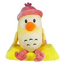 Іграшка з пледом Пінгвін в рожевій шапці, плюшева декоративна іграшка-плед 2в1