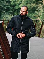 Мужской теплый бомбер плащ черного цвета. Удлиненный мужской бомбер черный. Стильная мужская теплая куртка.