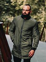 Мужской теплый бомбер плащ цвета хаки. Удлиненный мужской бомбер цвет хаки. Стильная мужская теплая куртка.
