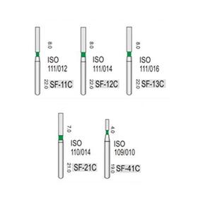 Алмазные турбинные боры грубые (125-150μ), SF - прямой с плоским кончиком