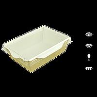 Салатник крафт с пластиковой прозрачной крышкой белый 165х120х45 мм, фото 1