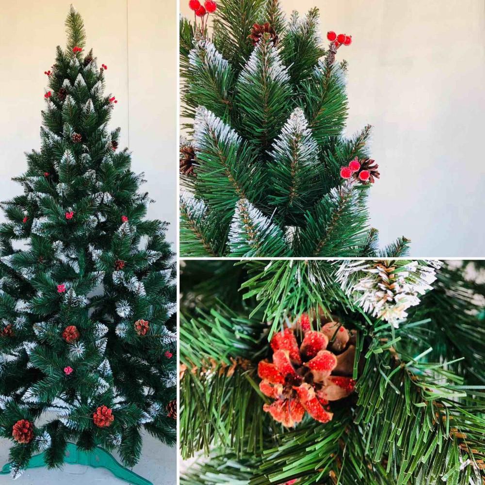 Елка рождественская зеленая с белыми кончиками+шишка+калина 2.5м