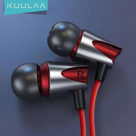 Проводные вакуумные наушники KUULAA M17 Red стерео гарнитура с микрофоном Earbuds Deep Bass, фото 2