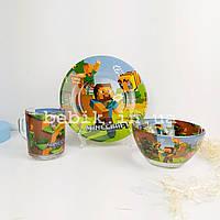 Подарочный набор детской посуды из стекла Minecraft
