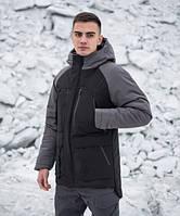 Куртка парка зимняя мужская Seniora udacha (черная с серым)