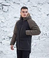 Куртка парка зимняя мужская Seniora udacha (черная с хаки)