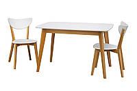 Стол Модерн  белый прямоугольный белый ножки бук