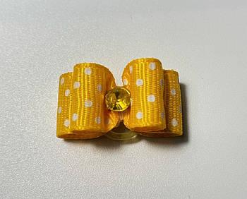 Двухъярусный бантик для собак, желтый в горошек, 3 см