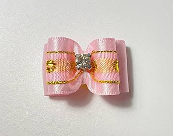Бантик для собак, нежно розовый с кристаллом, 3 см
