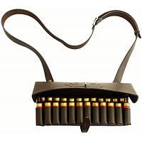 Плечевой патронташ кожаный двухрядный 12 к на 24 патрона
