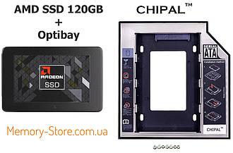 Комплект SSD 120GB + кишеня Optibay 9.5 mm, AMD R5SL120G