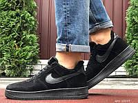 Мужские зимние замшевые кроссовки Nike Air Force чёрные, фото 1