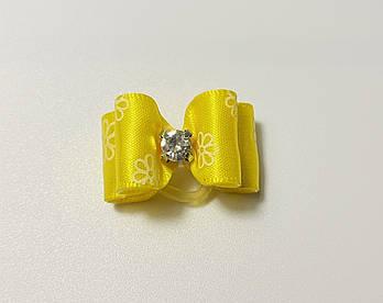 Бантик для собак ярко-желтый, 3 см