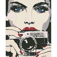 """Алмазная мозаика """"Девушка с фотоаппаратом"""" 40*50 см, ТМ Идейка (АМ6015)"""