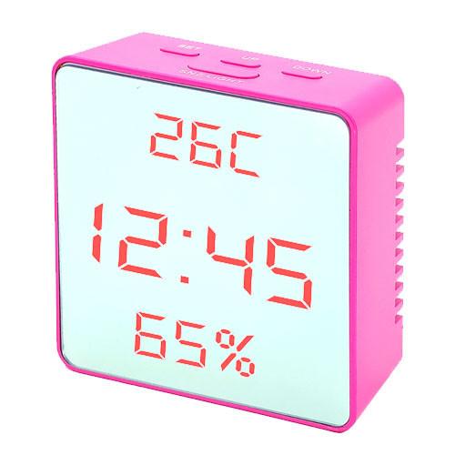 Часы сетевые VST-887Y-1, розовые, температура, влажность, USB