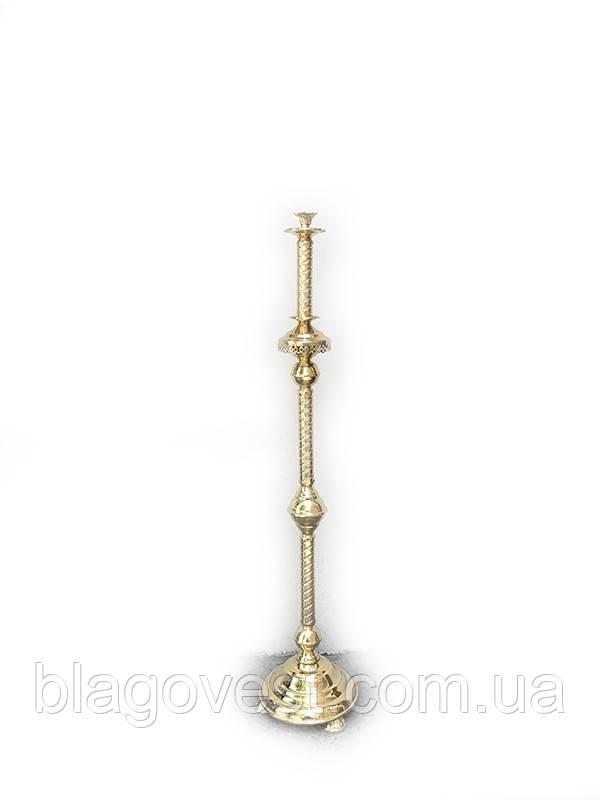 Підсвічник виносної дитячий на 1 свічку (висота 120 см. латунь, лак)
