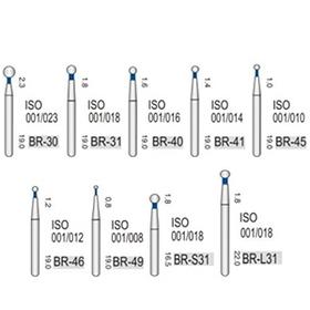 Алмазные турбинные боры средней абразивности (106-125μ), BR - шарообразный