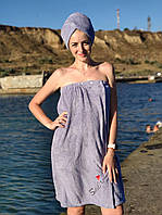 Полотенце банное на резинке с чалмой Фиолетовый Smile