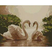 """Алмазная мозаика """"Пара лебедей"""" 40*50 см, ТМ Идейка (АМ6135)"""