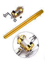 Удочка складная с катушкой и леской, телескопическая, Fishing rod in pen case, блесной | Вудка телескопічна