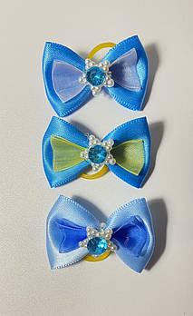 Бантик для собак голубой с кристаллом, 4 см, 1 шт