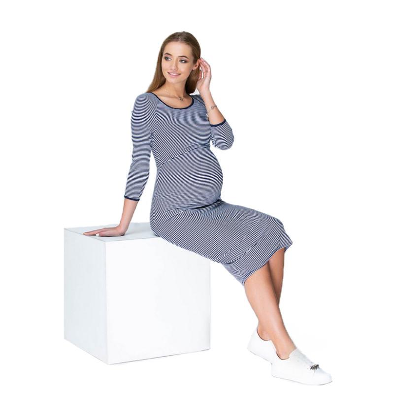 Платье для беременных и кормящих ЮЛА МАМА Lolly (размер XS, синий)