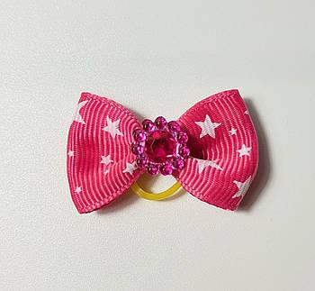 Бантик для собак розовый с камнем, 4 см