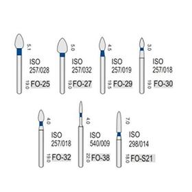Алмазные турбинные боры средней абразивности (106-125μ), FO - пламя-образный, стрельчатый кончик