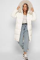 Белая длинная зимняя куртка LS-8883-3