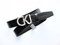 Кожаный ремень Calvin Klein унисекс черный, фото 1