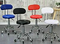Стул для мастера маникюра, парикмахера, косметолога, лешмейкера мягкий со спинкой белый кресло для мастера