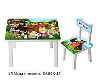 Детский столик со стульчиком Маша и Медведь художник ЛДСП стул-стол столик пенал Стол и стульчик для