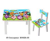 Детский столик со стульчиком Смешарики ДСП стул-стол столик пенал Стол и стульчик для детей