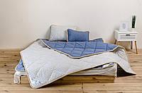 Комплект для сна из шерсти мериносов цвет Синий / Белый в синюю полоску