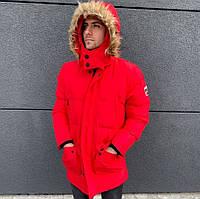Куртка парка мужская красная зимняя удлиненная стильная холлофайбер Мужские зимние куртки-парки Турция ЛЮКС