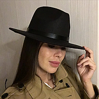 Шляпа фетровая федора женская черная унисекс