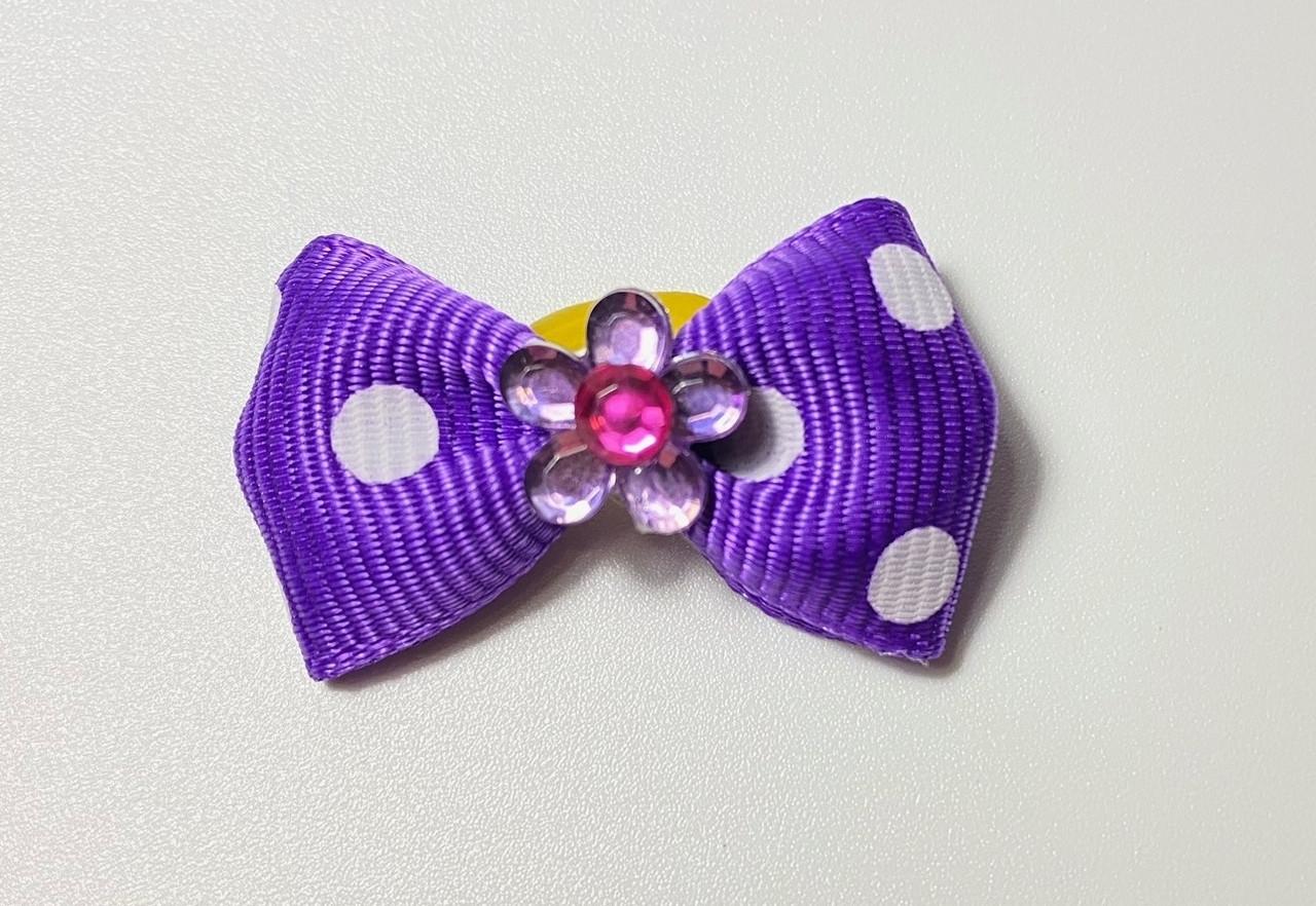 Бантик для собак фиолетовый с цветком, 4 см