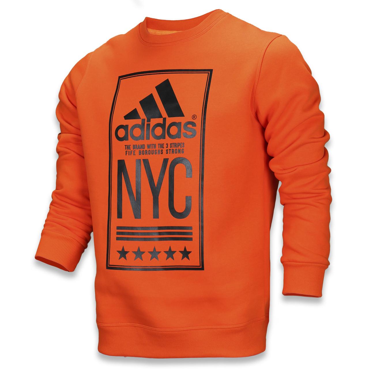 """Свитшот осень-зима оранжевый ADIDAS с принтом """"NYC""""  ORN M(Р) 19-422-003"""