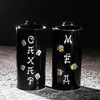 Набір керамічний 2-х предметний ( Мед+Цукор) черн.глянець, фото 1