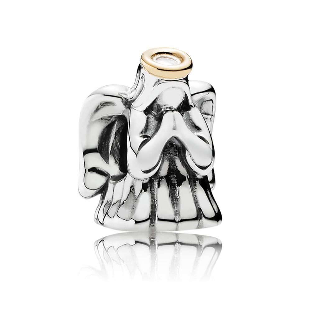 Шарм «Чудесный ангел» из серебра 925 пробы с золотом 585 пробы