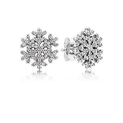 Серьги-пусеты «Снежинки» из серебра 925 пробы