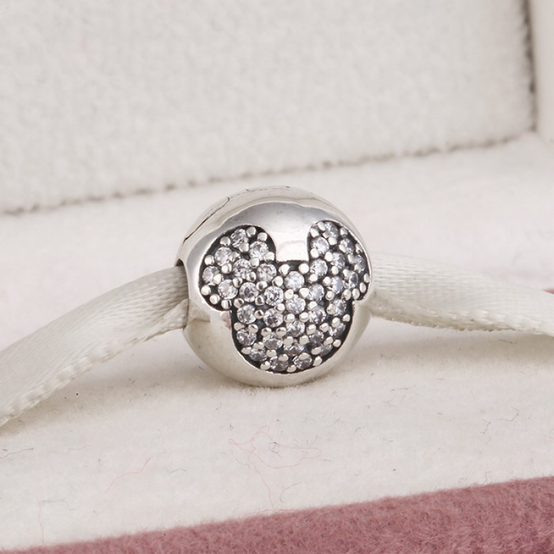 Клипса «Дисней» белая из серебра 925 пробы в стиле Pandora