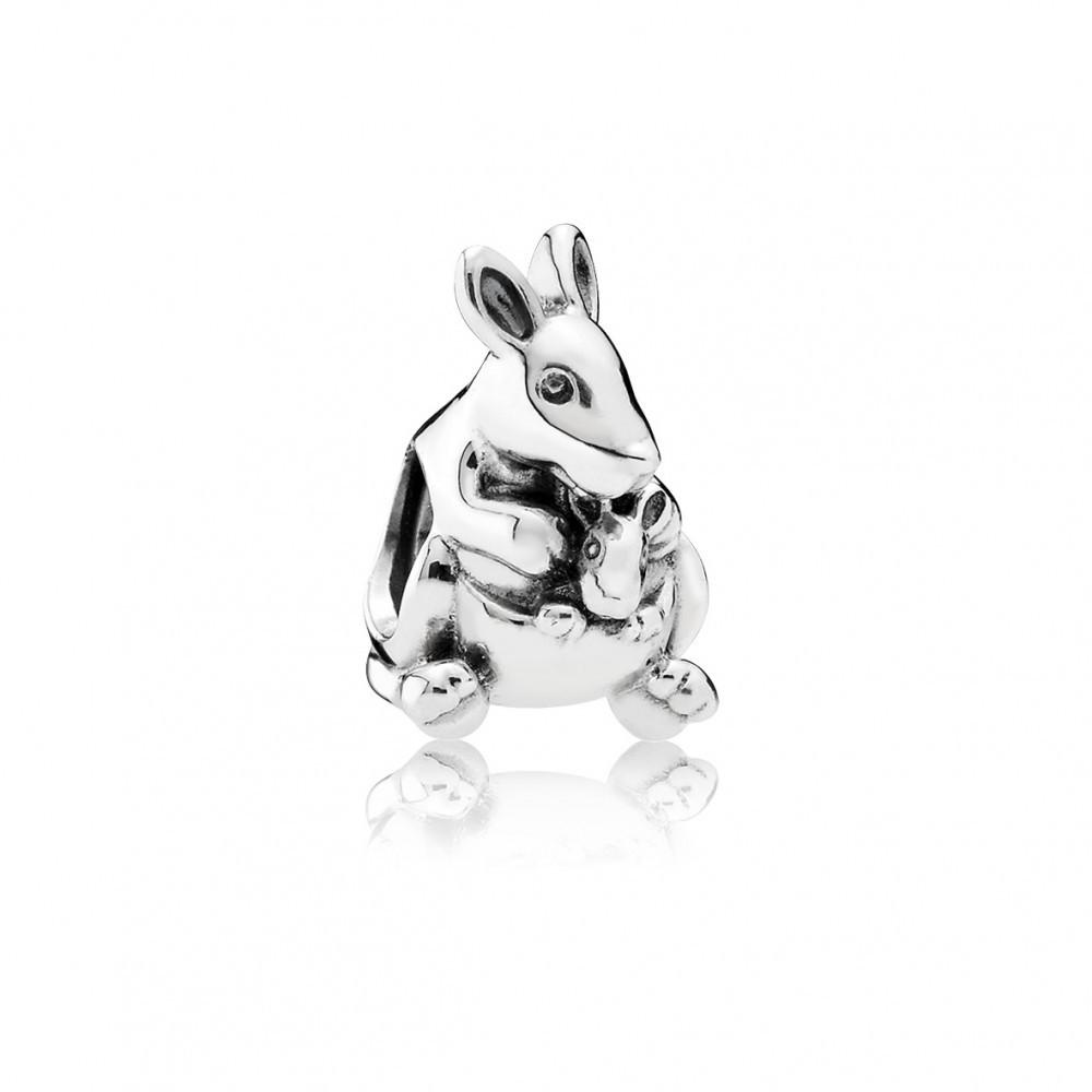 Подвеска-шарм «Кенгуру с кенгуренком» из серебра 925 пробы