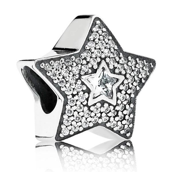 Шарм «Звезда желания паве» из серебра 925 пробы