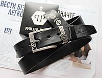 Мужской ремень Philipp Plein кожаный черный, фото 1