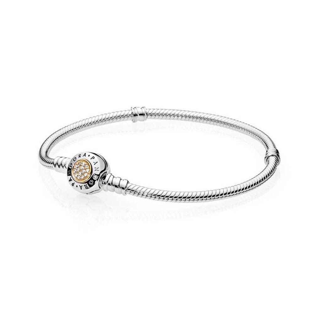 Серебряный браслет  с серебряно-золотой застежкой и кубическим цирконием