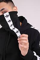 Бафф утеплённый чёрный с лампасом бело-чёрным Adidas, фото 1